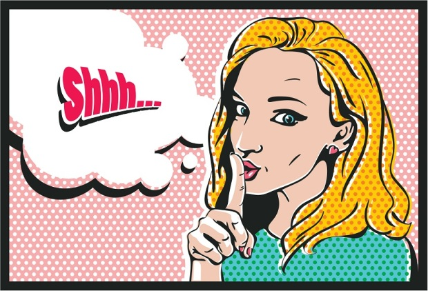 Shhh... Woman with finger on lips, silence gesture, pop art style woman banner